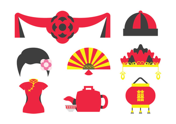Traditional Chinese Wedding Elements - vector gratuit #401505