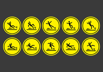 Wet floor sign icons - Free vector #401825