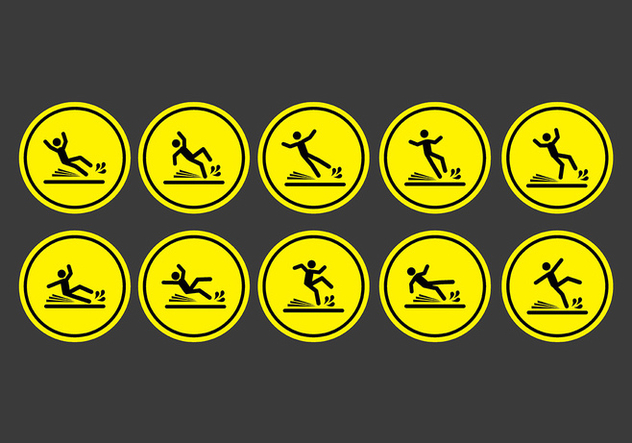 Wet floor sign icons - бесплатный vector #401825