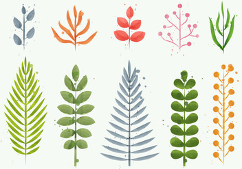 Floral Watercolor Plant Vectors - Free vector #401865