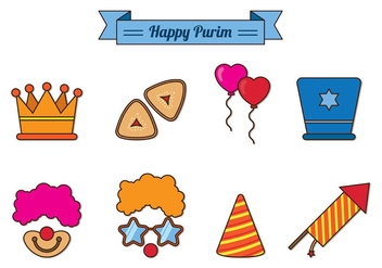 Set Of Purim Celebration Icons - vector gratuit #402005