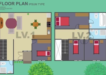 Free Floorplan Illustration - Free vector #402065