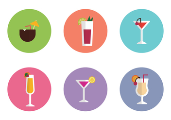 Drinks Colorful Flat Icons - vector gratuit #402075