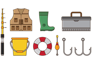 Set Of Fishing Icons - vector gratuit #402205