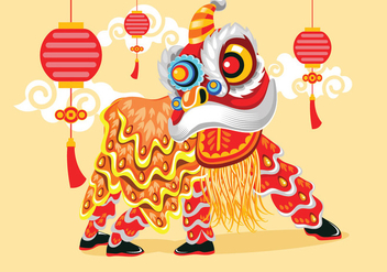 Vector Illustration Traditional Chinese Lion Dance Festival Background - vector gratuit #402425