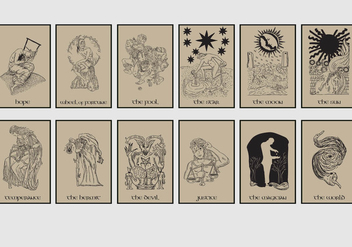 Tarot Card In Brown Background - Free vector #402525