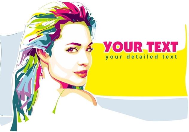 Angelina Jolie in Popart Portrait - Free vector #402625