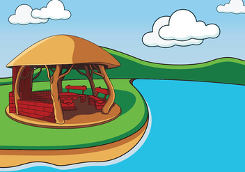 Cozy Gazebo In The Lake - vector gratuit #402635