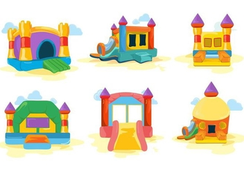 Free Colorfull Bounce House and Castle Vector - Kostenloses vector #402725