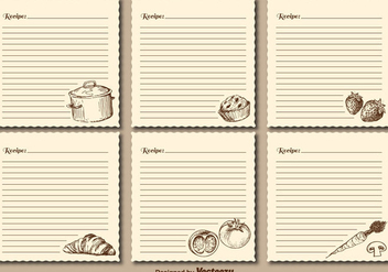 Vintage Recipe Cards Vector Templates - Kostenloses vector #402945