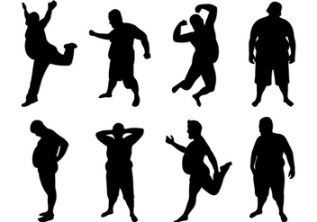 Set Of Fat Guy Silhouettes - vector gratuit #402975