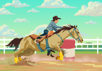Cowboy Participant In A Barrel Racing - Kostenloses vector #403075