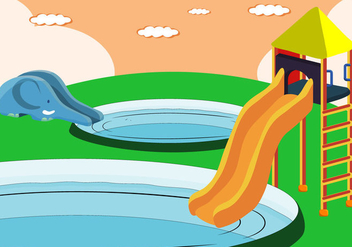 Vector Water Slide for Kids - vector gratuit #403195