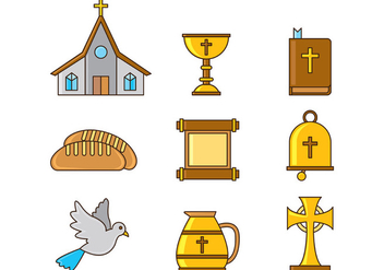 Set Of Comunion Icons - vector gratuit #403205