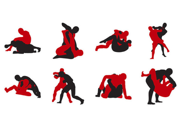 Free MMA Fighting Silhouette Vector - Free vector #403345