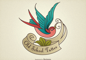 Free Old School Tattoo Swallow Vector - Kostenloses vector #403715