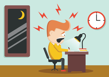 Exhausted Business Man At His Desk - Free vector #403885