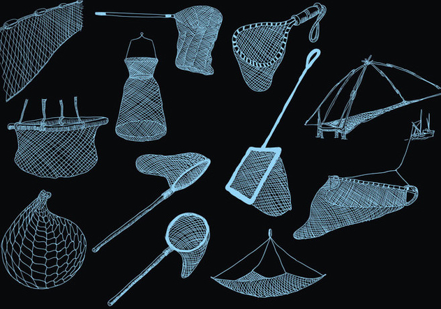 Fishing Net Icon On Black Background - vector gratuit #403895