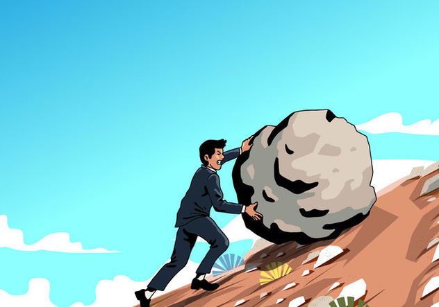 Man Pushing Rock Vector - Kostenloses vector #403945