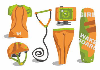 Woman Wakeboarding Vector Set - Free vector #404025