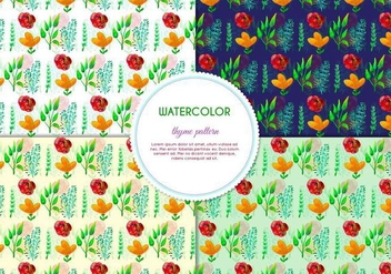 Free Vector Hand Drawn Watercolor Thyme Pattern With Flowers And Leaves - Kostenloses vector #404075