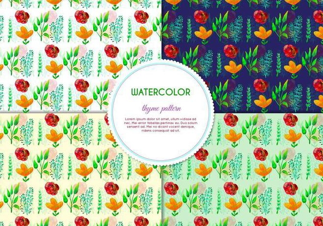 Free Vector Hand Drawn Watercolor Thyme Pattern With Flowers And Leaves - vector gratuit #404075