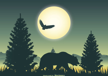 Landscape Scene with Bear Silhouette - бесплатный vector #404225
