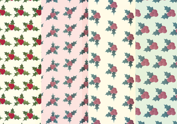 Vector Holly Winter Patterns - vector gratuit #404285