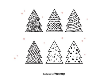 Hand Drawn Christmas Trees Vector - vector gratuit #404355