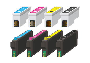 Ink Cartridge CMYK vectors - vector #404425 gratis