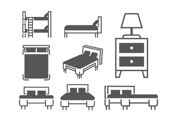 Beds and mattresses vectors - vector gratuit #404435