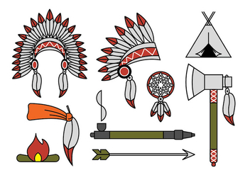 Indian chief mascot and headdress vectors - бесплатный vector #404445