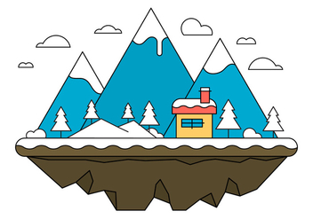 Blue Landscape Island Vector Illustration - Free vector #404615