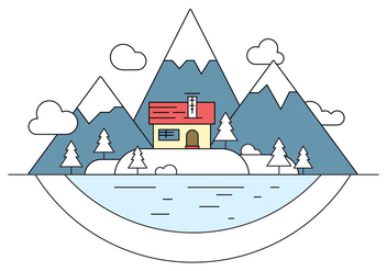 Snowy Landscape Island Vector Illustration - Free vector #404625