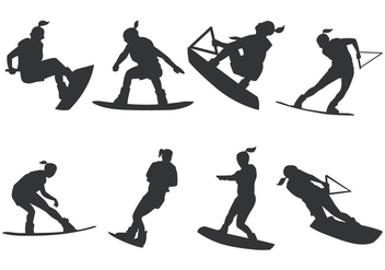 Women Wakeboarding Silhouette - Free vector #404735