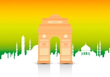 India Gate Landmark Illustration - бесплатный vector #404785