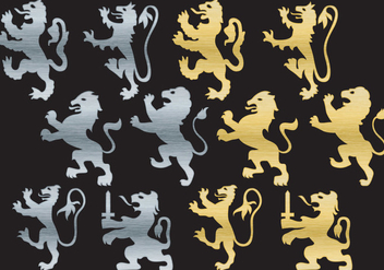 Lion Rampant Silhouettes - Kostenloses vector #405015