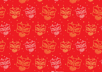 Red Lion Dance Seamless Pattern - vector #405085 gratis