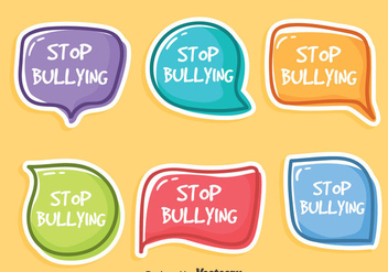 Stop Bullying Sticker Vector Set - Kostenloses vector #405115