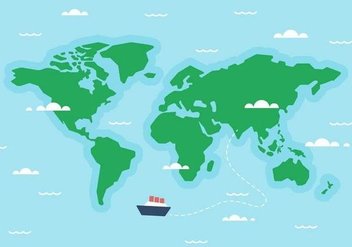 Free World Map Ship Vector - vector gratuit #405545