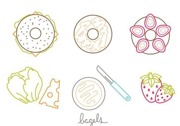 Bagel Icon Set - vector gratuit #405575