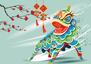 Chinesse Lion Dance Vector - Free vector #405665