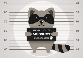 Free Vector Cartoon Arrested Raccoon - vector gratuit #405745