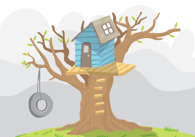 Blue Treehouse Vector With Swing - Free vector #405765
