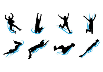 Free Water Slide Silhouettes Vector - Kostenloses vector #405815