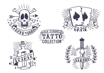 Free Old School Tattoo Collection - Kostenloses vector #405925