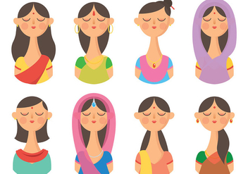 Free Indian Woman Icons Vector - Free vector #405985