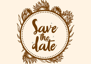 Free Hand Drawn Protea Flower Save The Date Vector - Kostenloses vector #406085