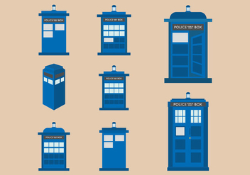 Vector flat design illustration of Tardis blue police phone box - vector #406335 gratis