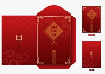 Red Chineese New Year Money Packet Design - Free vector #406385
